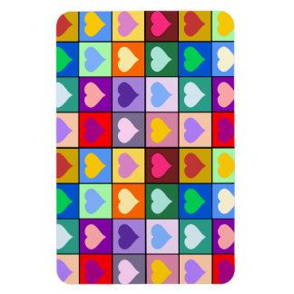 Colorful Heart Squares Rectangular Photo Magnet