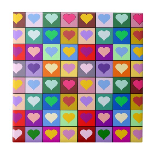 Colorful Heart Squares Tile