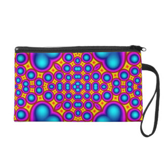 Colorful hearth and circle pattern wristlet