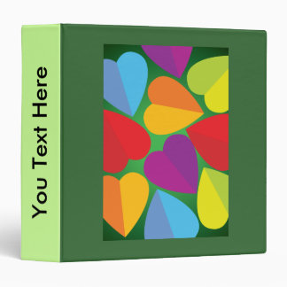 Colorful Hearts 3 Ring Binder