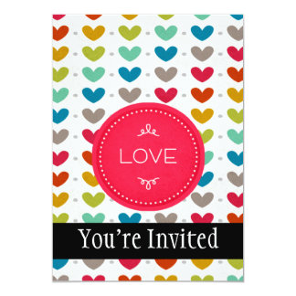 "Colorful Hearts And A Stitch Of Love 5"" X 7"" Invitation Card"