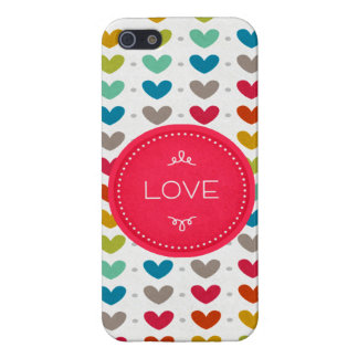 Colorful Hearts And A Stitch Of Love iPhone SE/5/5s Case
