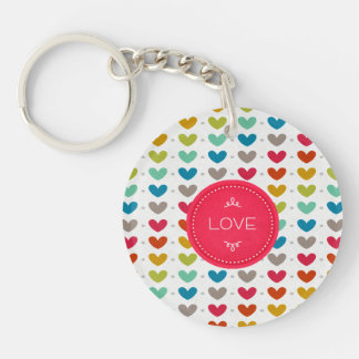 Colorful Hearts And A Stitch Of Love Keychain
