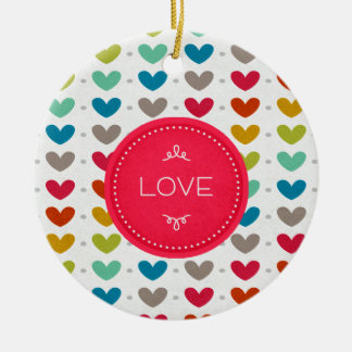 Colorful Hearts And A Stitch Of Love Double-Sided Ceramic Round Christmas Ornament
