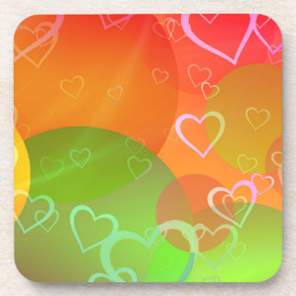 Colorful Hearts and Balloons Abstract Design Coaster