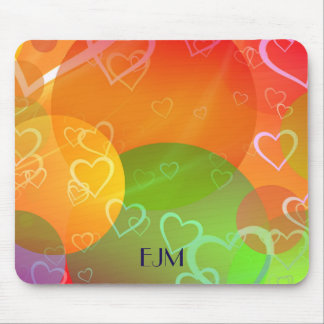 Colorful Hearts and Balloons Abstract Design Mouse Pad