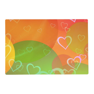 Colorful Hearts and Balloons Abstract Design Placemat