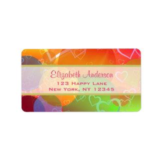 Colorful Hearts and Balloons Pattern Label