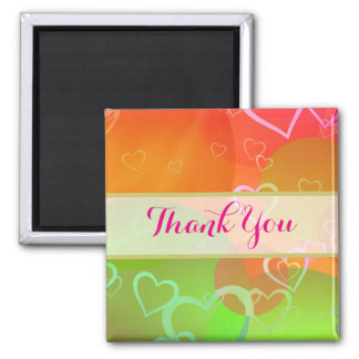Colorful Hearts and Balloons - Thank You Magnet