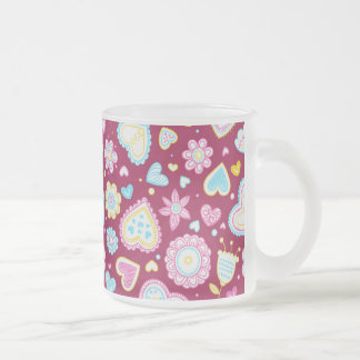 Colorful hearts and flowers pattern frosted glass coffee mug