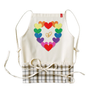 Colorful hearts and wedding rings cartoon zazzle HEART apron