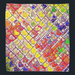 """Colorful Hearts Bandana<br><div class=""""desc"""">Colorful Hearts Bandana is designed to be versatile in uses from head bandana for all ages,  or summer sweat cloth,  to use as fabric tor tiny sewing projects,  or as a cheerful bandana for your favorite pet... . let your imagination soar!! multi colored</div>"""