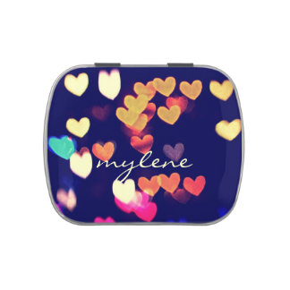 Colorful Hearts Bokeh Vintage Blue Yellow Orange Jelly Belly Tins