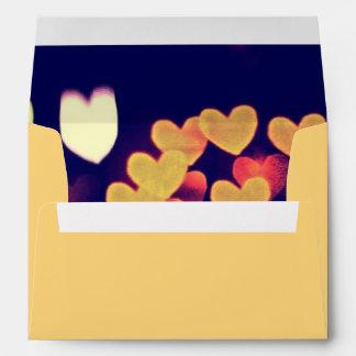Colorful Hearts Bokeh Vintage Blue Yellow Orange Envelope