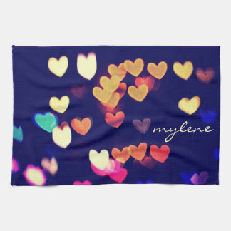 Colorful Hearts Bokeh Vintage Blue Yellow Orange Hand Towel