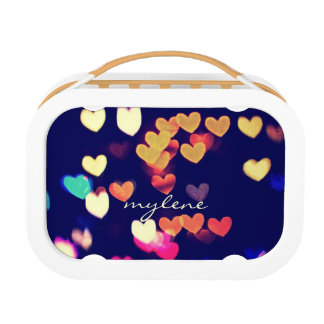 Colorful Hearts Bokeh Vintage Blue Yellow Orange Yubo Lunchboxes