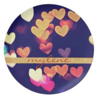 Colorful Hearts Bokeh Vintage Blue Yellow Orange Party Plate