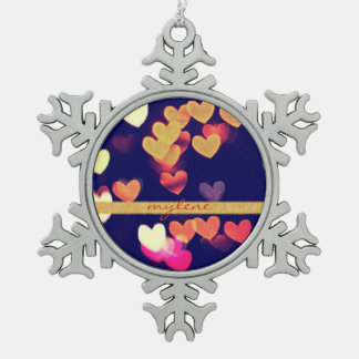 Colorful Hearts Bokeh Vintage Blue Yellow Orange Snowflake Pewter Christmas Ornament