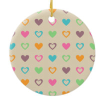 colorful hearts ceramic ornament