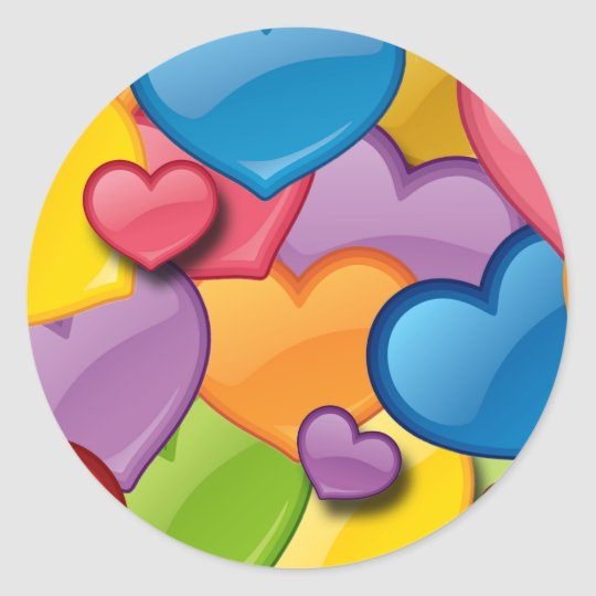 COLORFUL HEARTS COLLAGE CLASSIC ROUND STICKER