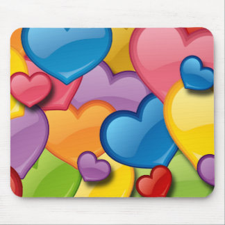 COLORFUL HEARTS COLLAGE MOUSE PAD