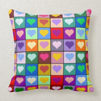 Colorful hearts cushion throwpillow
