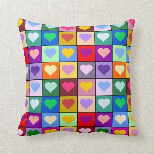 Colorful hearts cushion pillow