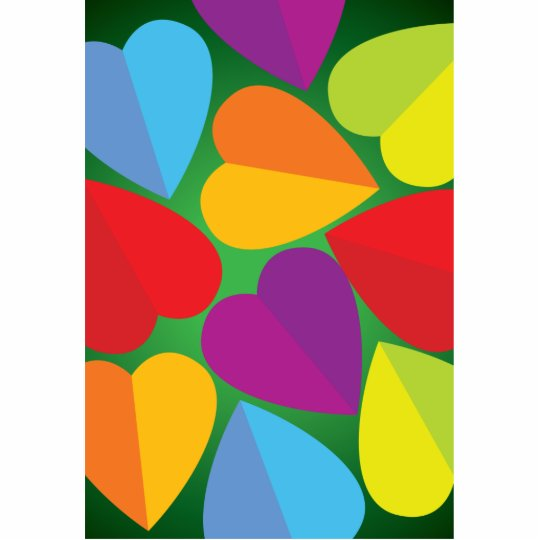 Colorful Hearts Cutout
