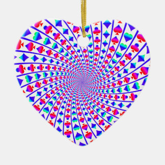 Colorful Hearts, Diamonds, Spades, and Clubs Ceramic Ornament