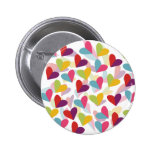 Colorful Hearts Graphic Design Pinback Buttons