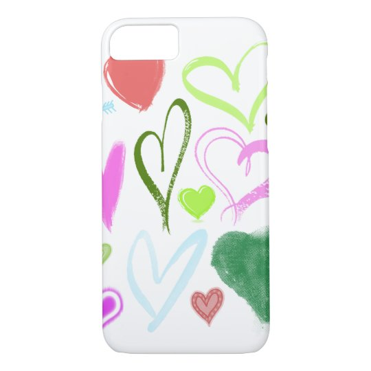 Colorful Hearts, Heart Motif - Red Blue Pink Green iPhone 7 Case