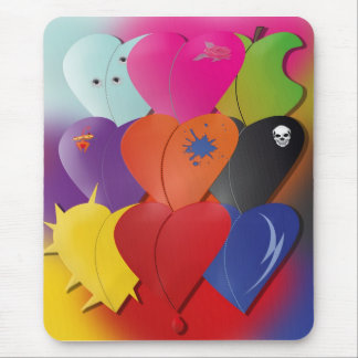 Colorful Hearts in Various Designs and Feel Mouse Pad
