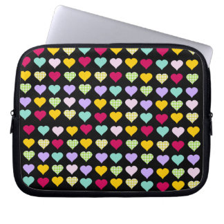 Colorful hearts laptop sleeve