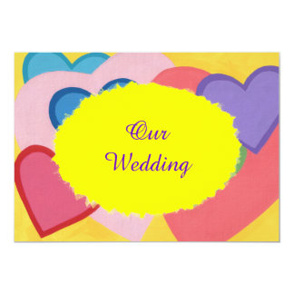Colorful Hearts Layered Custom Wedding Invitations