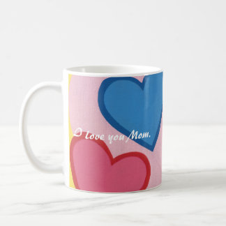 Colorful Hearts Layered Love Mom Mugs