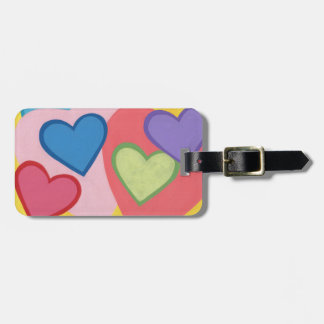 Colorful Hearts Layered Personalized Luggage Tags