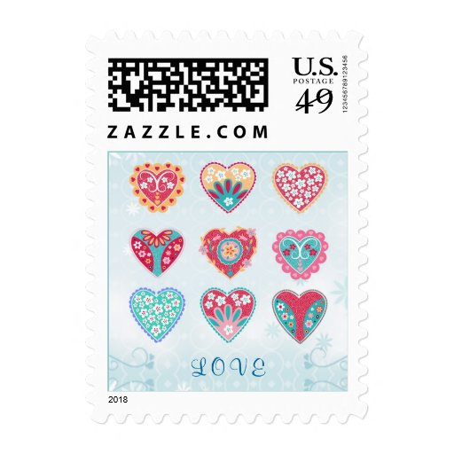 Colorful hearts Love Postage