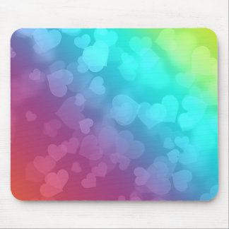 Colorful Hearts Mouse Pad