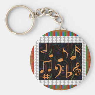 Colorful Hearts n Sheet Music Symbols Love Romance Key Chain