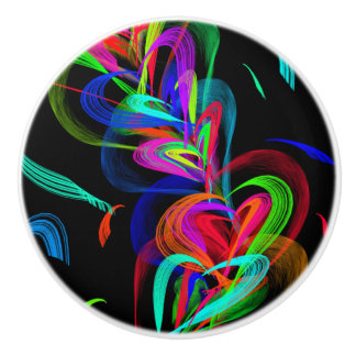 Colorful Hearts on Black Background Ceramic Knob