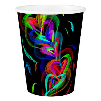 Colorful Hearts on Black Background Paper Cup