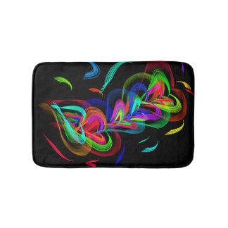 Colorful Hearts on Black Bathmat