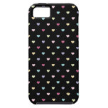 Colorful Hearts on Black iPhone 5 Cases