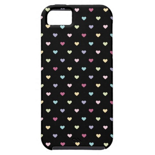 Colorful Hearts on Black iPhone 5 Covers