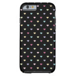 Colorful Hearts on Black Tough iPhone 6 Case