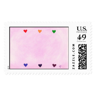 Colorful hearts on Pink Postage, add your text Stamp