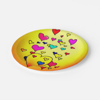 Colorful Hearts Paper Plates
