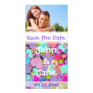 """Colorful Hearts /photo """"Save the Date"""" Customized Photo Card"""