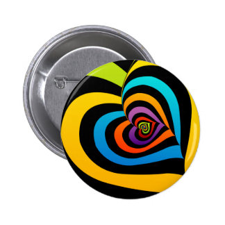 colorful hearts pinback button