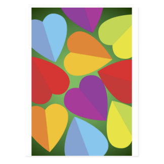 Colorful Hearts Postcard